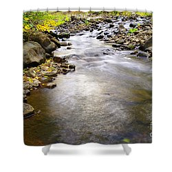 Tiny Rapids At The Bend  Shower Curtain by Jeff Swan