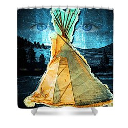 Shower Curtain featuring the mixed media Tipi Dream by Joseph J Stevens
