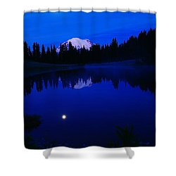 Tipoe Lake And Mount Rainer Shower Curtain by Jeff Swan