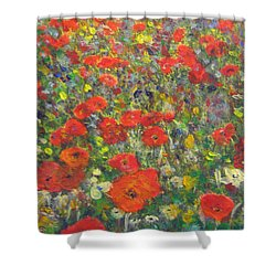 Shower Curtain featuring the painting Tiptoe Through A Poppy Field by Richard James Digance