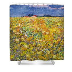 Shower Curtain featuring the painting tiptoe Through Summer Meadow by Richard James Digance