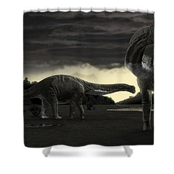 Titanosaurs In The First Storm Shower Curtain by Rodolfo Nogueira