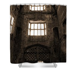Titchfield Abbey Gatehouse In Sepia Shower Curtain by Terri Waters