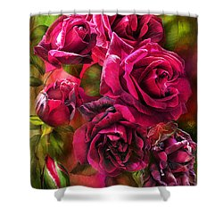 Shower Curtain featuring the mixed media To Be Loved - Red Rose by Carol Cavalaris