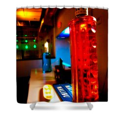 To The Bar Shower Curtain by Melinda Ledsome