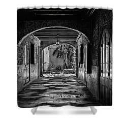 To The Courtyard - Bw Shower Curtain by Christopher Holmes
