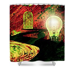 Shower Curtain featuring the mixed media To The Light by Ally  White