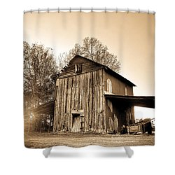 Tobacco Barn In Sunset Shower Curtain