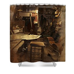 Tobacco Cello Shower Curtain by Evie Carrier