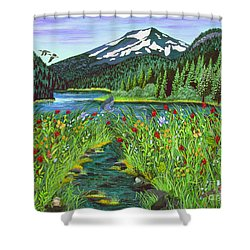 Todd Lake Mt. Bachelor Shower Curtain