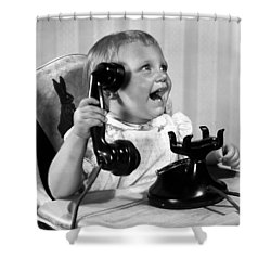 Toddler With Telephone Shower Curtain by Underwood Archives