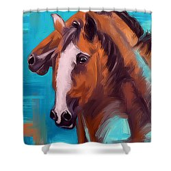 Shower Curtain featuring the painting Together 1 by Go Van Kampen
