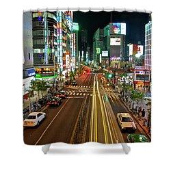 Tokyo Neon Streaks Shower Curtain by Jonah  Anderson