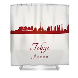 Tokyo Skyline In Red Shower Curtain