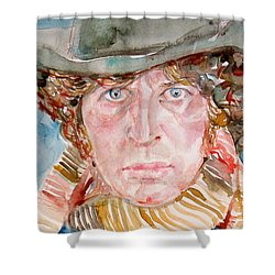 Tom Baker Doctor Who Watercolor Portrait Shower Curtain by Fabrizio Cassetta