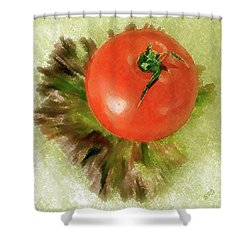 Tomato And Lettuce Shower Curtain by Ben and Raisa Gertsberg