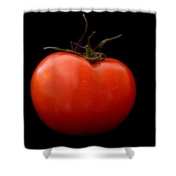 Tomato On Black Shower Curtain by Jeremy Voisey