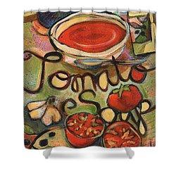 Tomato Soup Recipe Shower Curtain by Jen Norton