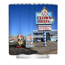 Tonopah Nevada - Clown Motel Shower Curtain by Frank Romeo