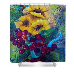 Shower Curtain featuring the painting Too Delicate For Words - Yellow Flowers And Red Grapes by Eloise Schneider