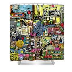 Too Loud Shower Curtain by Colin Thompson