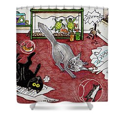 Shower Curtain featuring the drawing Too Many Pets by Shawna Rowe