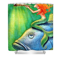 Toot Your Own Seashell Mermaid Shower Curtain