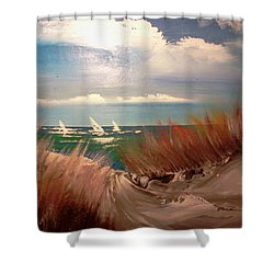 Top Of The Dune Shower Curtain by Joseph Gallant