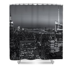 Top Of The Rock Twilight V Shower Curtain by Clarence Holmes