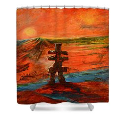 Shower Curtain featuring the painting Top Of The World by Sher Nasser