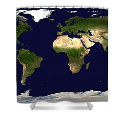 Topo Map Of The World Shower Curtain
