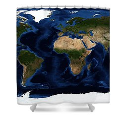 Topography Map Of The World Shower Curtain