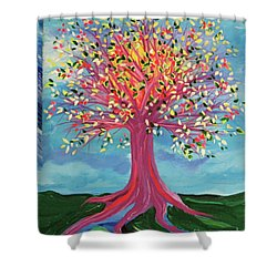 Shower Curtain featuring the painting Tori's Tree By Jrr by First Star Art