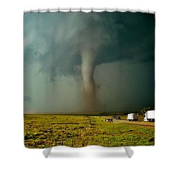Shower Curtain featuring the photograph Tornado Truck Stop II by Ed Sweeney