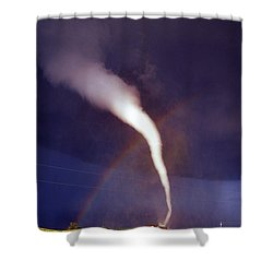 Tornado With Rainbow In Mulvane Kansas Shower Curtain by Jason Politte
