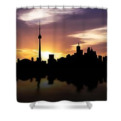 Toronto Canada Sunset Skyline  Shower Curtain by Aged Pixel