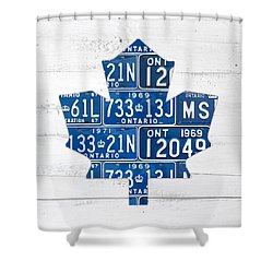 Toronto Maple Leafs Hockey Team Retro Logo Vintage Recycled Ontario Canada License Plate Art Shower Curtain