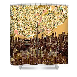 Toronto Skyline Abstract 9 Shower Curtain by Bekim Art