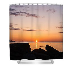Toronto Skyline Panorama At Sunrise Shower Curtain by Georgia Mizuleva