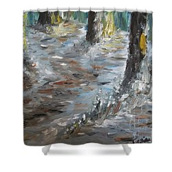 Shower Curtain featuring the painting Touch Of Christmas by Teresa White