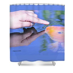 Shower Curtain featuring the photograph Touching The Koi by Debby Pueschel