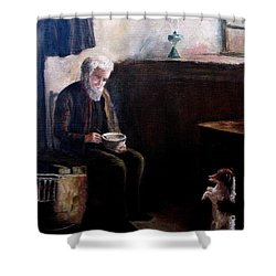 Shower Curtain featuring the painting Tough Times by Hazel Holland
