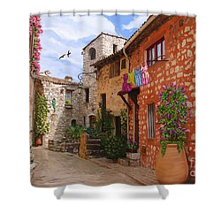 Shower Curtain featuring the painting Tourettes Sur Loup France by Tim Gilliland