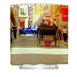 Touring Old Montreal Cyclist Caleche Cars Share Narrow Historic Youville Square City Scenes Cspandau Shower Curtain by Carole Spandau