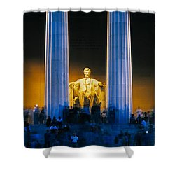 Tourists At Lincoln Memorial Shower Curtain by Panoramic Images