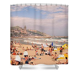 Tourists On The Beach, Sitges, Spain Shower Curtain by Panoramic Images