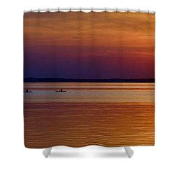 Tours End - Kayak Sunset Photo Shower Curtain