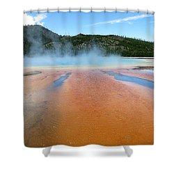 Toward The Blue Stream Shower Curtain by Laurel Powell
