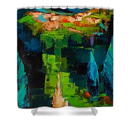 Shower Curtain featuring the painting Toward The Tuscan Village by Elise Palmigiani