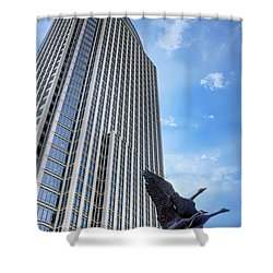 Tower And Geese Shower Curtain by Nikolyn McDonald